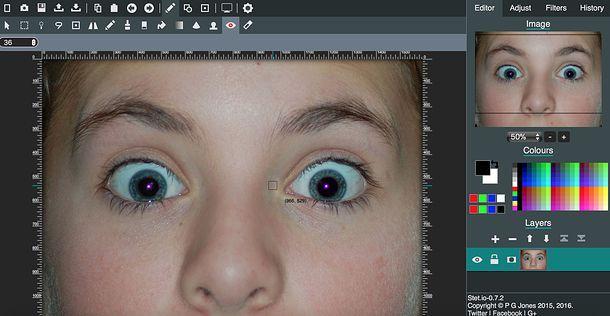 Come correggere gli occhi rossi online