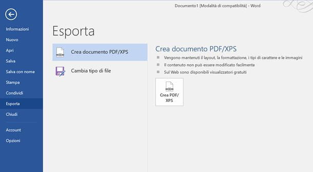 Come salvare in PDF con Word