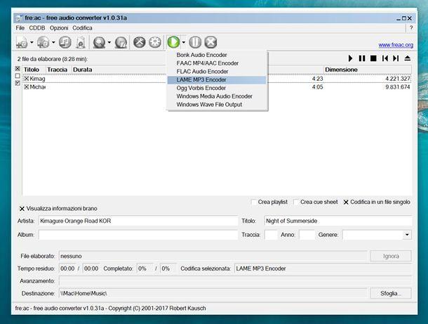 Come unire brani MP3 con fre:ac