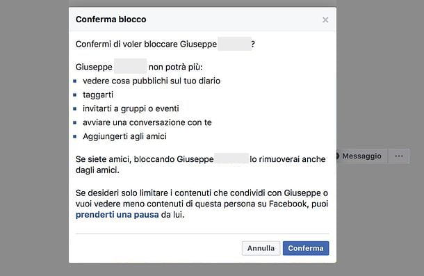 Come bloccare una persona su Facebook da PC