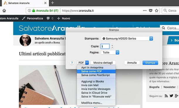 Come salvare in PDF su Mac