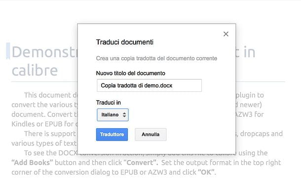 Come tradurre documento Word in Google Drive