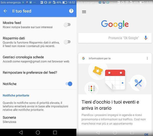 Come disattivare scehde Google Now