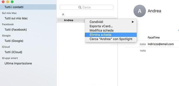 Come eliminare un indirizzo email memorizzato su Mac