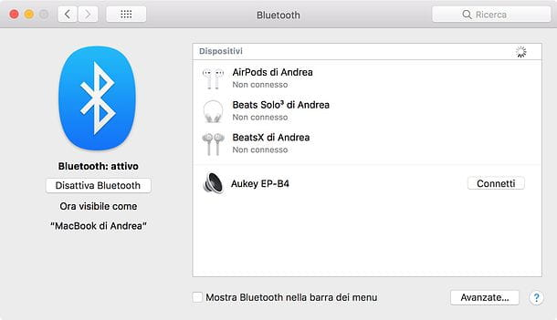 Come collegare cuffie Bluetooth al Mac