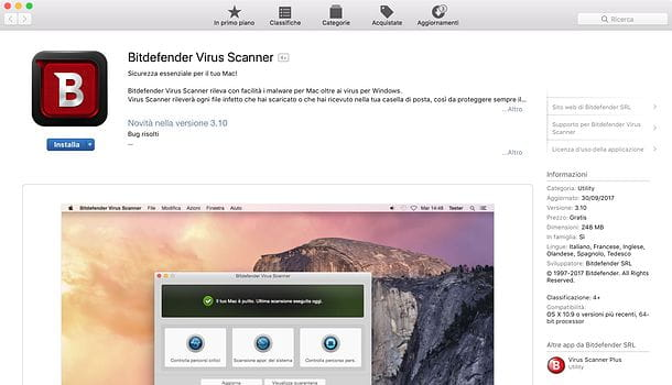 Bitdefender Virus Scanner per Mac