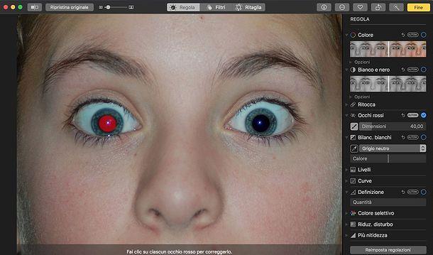 Come correggere gli occhi rossi su Mac