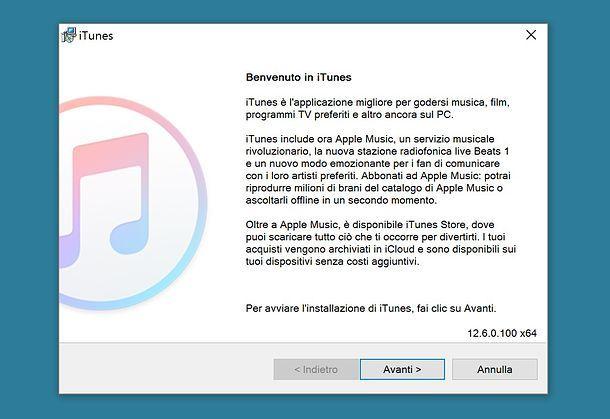 Installazione di iTunes