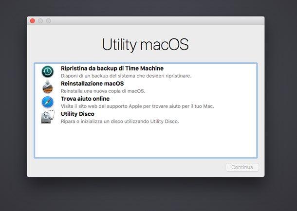 Utility macOS - Ripristino