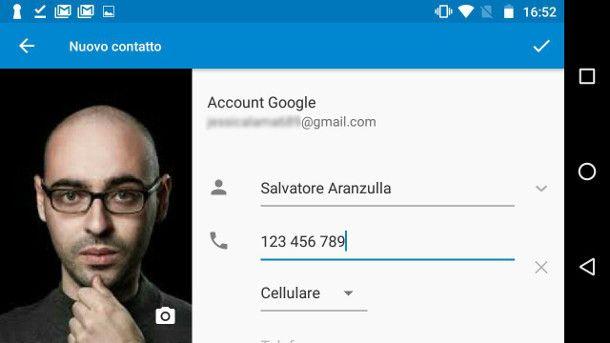 Salvare contatti Android su Google