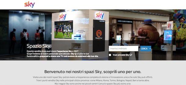 Trovare negozio Sky