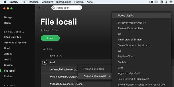 Creare una playlist su Spotify
