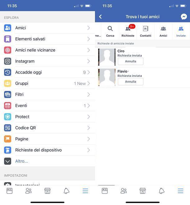 Come vedere le richieste di amicizia inviate su Facebook per iOS