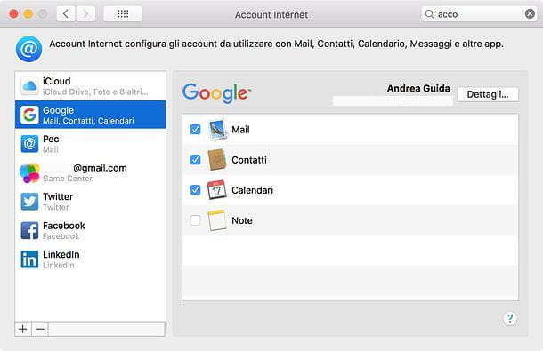 eliminare account su mac mail