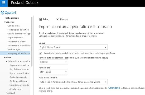 Come cambiare lingua su Outlook.com