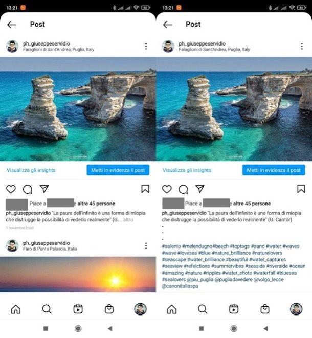 Come nascondere hashtag Instagram