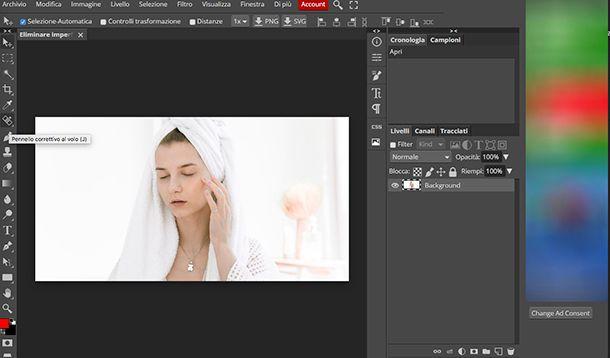 Come eliminare imperfezioni foto con Photopea
