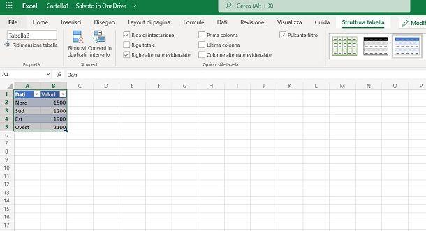 Tabella Excel Online