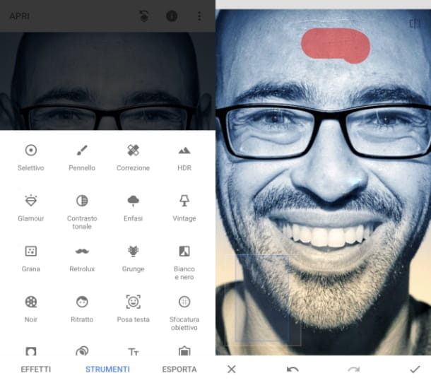 Come eliminare imperfezioni foto con Snapseed