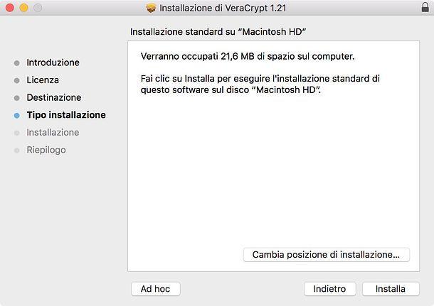 Installare VeraCrypt Mac