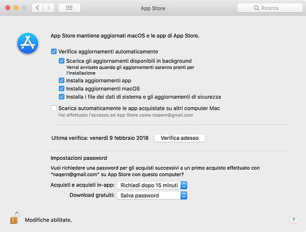 Impostazioni Mac App Store