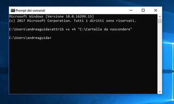 Comando per nascondere file e cartelle su Windows