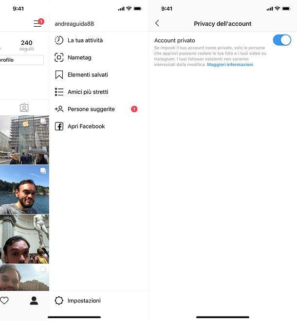 Come funziona Instagram profilo privato