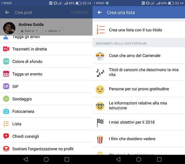 Creare liste Facebook