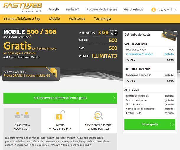 Offerte 4G Fastweb