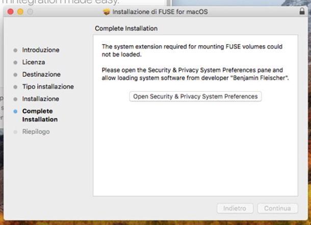 Installazione FUSE for macOS