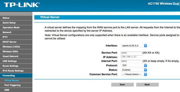 Aprire il NAT nel router