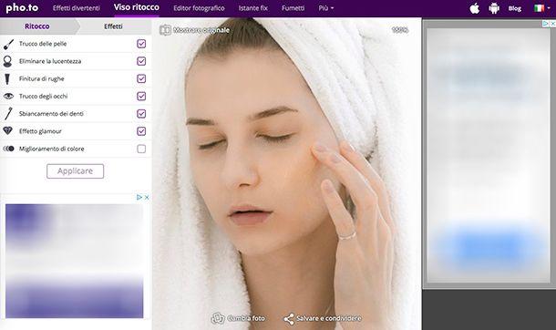 Come eliminare imperfezioni foto con Makeup Pho.to