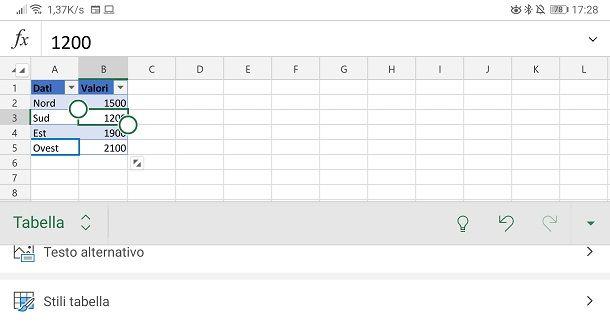 Tabella app Excel