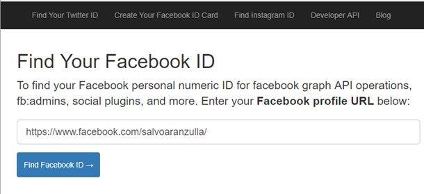 Controllare l'ID Facebook
