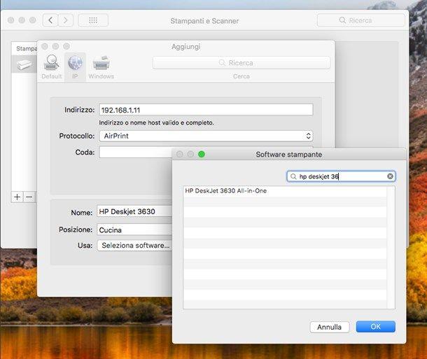 Aggiungere manualmente la stampante in macOS