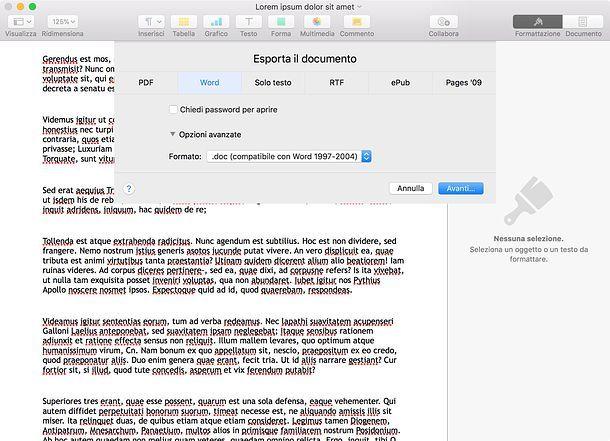 Come trasformare DOCX in DOC con Pages