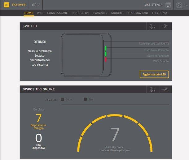 Consultare lo stato del servizio Fastweb
