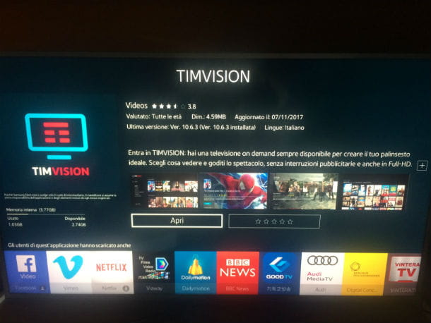 timvision su smart tv samsung