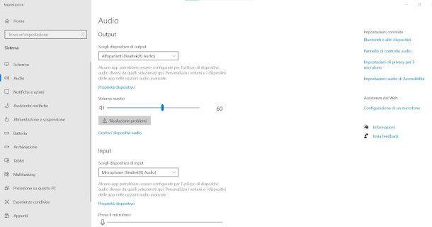 Impostazioni Audio Windows 10