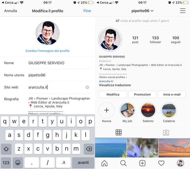 Link in bio su Instagram