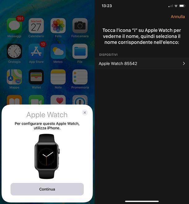 Abbinamento Apple Watch e iPhone