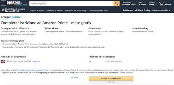 Attivare prova gratuita di Amazon Prime