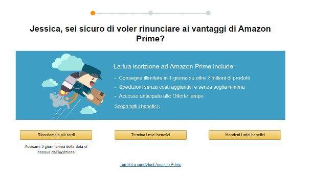 Come disattivare il rinnovo automatico di Amazon Prime