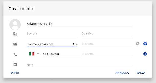 Come salvare contatti su Gmail