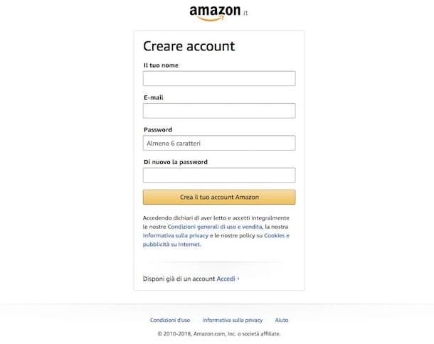 Come registrarsi su Amazon