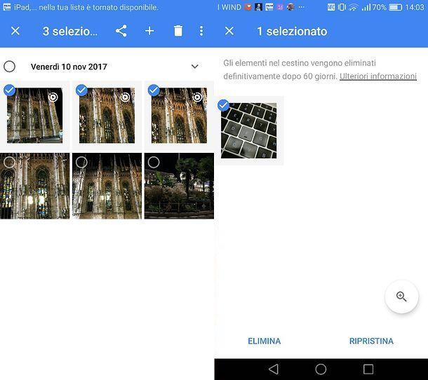 Come eliminare foto da Google Foto Android