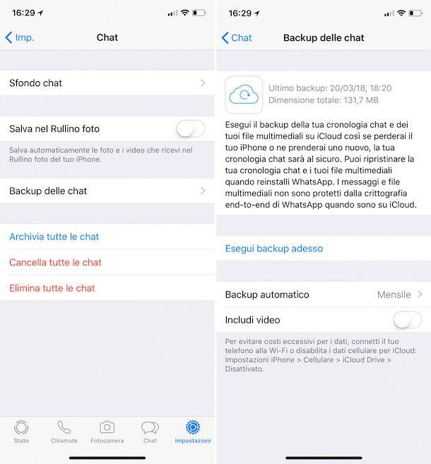 Come fare backup WhatsApp iPhone