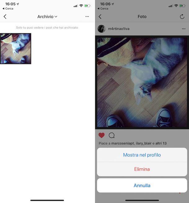 Come recuperare foto archiviate Instagram