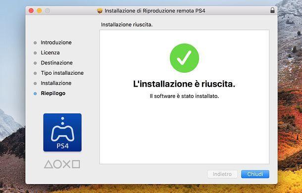 Installazione Riproduzione remota PS4 Mac