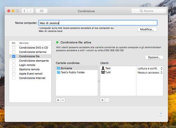Condividere file e cartelle in rete tramite Mac